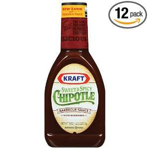 Sweet & Spicy Chipotle Barbecue Sauce, 18 Ounce Bottle (Pack of 12