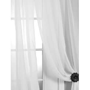 Pair (2 Panels) Solid White Voile Poly Sheer Curtains: Home & Kitchen