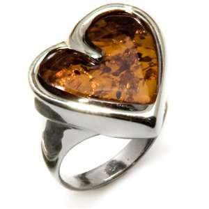 Amber and Sterling Silver Large Heart Ring Sizes 5,6,7,8,9,10,11,12