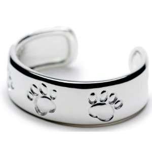 Lisa Welch Jewelry Dog Paw Print Silver Cuff Bracelet