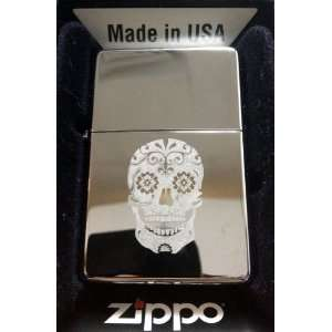 Zippo Custom Lighter   Sugar Skull Tattoo Logo Hi Polish