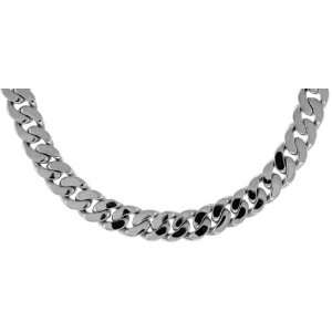 14K White Gold Solid Flat Curb Link Chain Necklace or Bracelet, 9.5mm