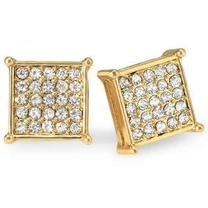 18k Yellow Gold Plated Stud Earrings 12 mm Square Shaped White Round