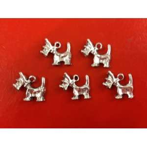 10 Piece Yorkie Antique Silver Tibetan Style Charms