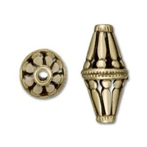 Anique Brass Plaed Brass Roman Pillars Long Bicone Bead