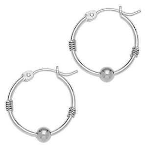 Solid 14KT White Gold Ball 3/4 Inch Hoop Earrings Jewelry