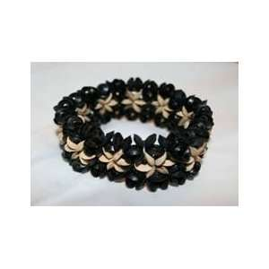 Black Wood and Coconut Bead Stretch Bracelet Everything