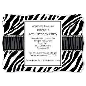 Zebra   Personalized Birthday Party Invitations With