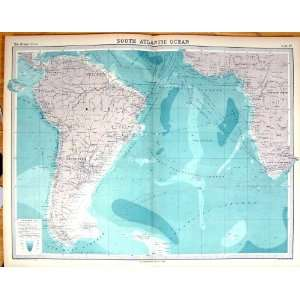 Times Antique Map 1922 South Atlantic Ocean Brazil