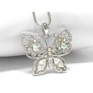 Winter Butterfly with Aurora Borealis Crystals White Gold Plated