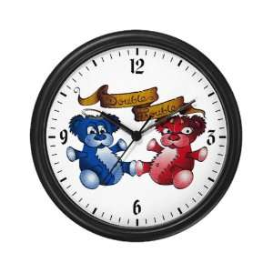 Wall Clock Double Trouble Bears Angel and Devil