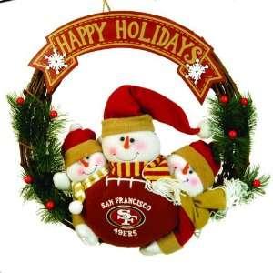 San Francisco 49ers Happy Holidays Triple Snowman Christmas Wreath