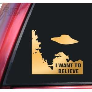 Files I Want To Believe Vinyl Decal Sticker   Mirror Gold