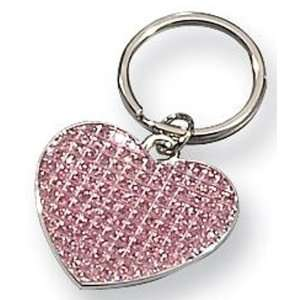 Pink Glitter Silver plated Heart Key Ring Automotive