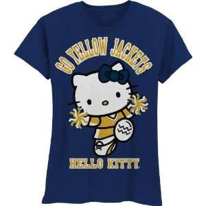 Georgia Tech Yellow Jackets Hello Kitty Pom Pom Girls Crew Tee Shirt