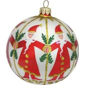 Glass Christmas ornament Dancing Santas 6
