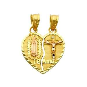 Small Religious Guadlupe Juses Broken Heart Charm Pendant GoldenMine