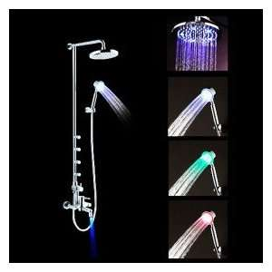 Color Changing LED Shower Faucet with 8 inch Shower Head + Hand