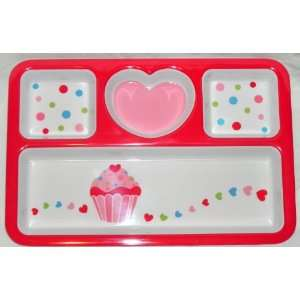 Pink and Red Heart Valentine Divided Platter with Polka