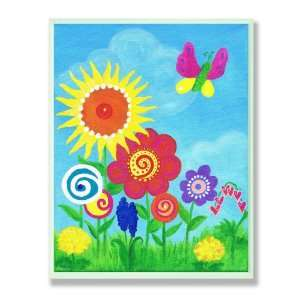 The Kids Room Flowers and Butterfly Wall Plaque