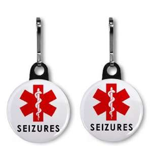 SEIZURE ALERT Medical Alert 2 Pack 1 Zipper Pull Charms