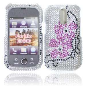 FULL DIAMOND DESIGN SILVER WITH HOT PINK FLOWER CASE FOR