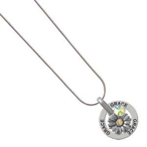 Gold and Silver Tone Flower Charm on Grace Snake Chain Necklace AB