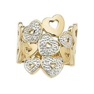 Gold Plated Clear Cubic Zirconia Love Heart Luxury Band Ring Jewelry