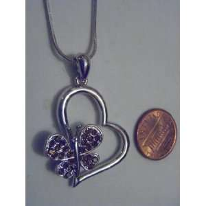 Brown Swarovski Crystal Heart with Butterfly Necklace