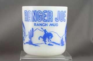 Vintage Hazel Atlas Milk Glass Childs Mug Ranger Joe