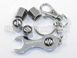 Car Wheel Tyre Valve Cap Covers +Wrench +Key Ring Chain For Suzuki