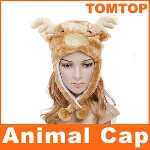 Cartoon Animal Elk Fluffy Cap Earmuff Scarf hat H2707