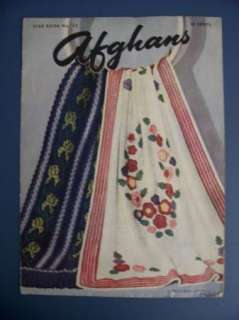Vtg 1940s STAR AFGHANS CROCHET & KNITTING PATTERNS BOOK 13 Unique