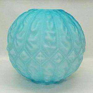 Blue Gone with the Wind Glass Ball Oil Lamp Shade Globe Satin Parlor