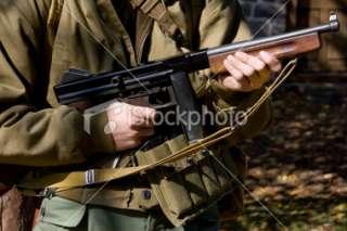 WW2 Soldier with Thompson Submachine Gun Royalty Free Stock Photo