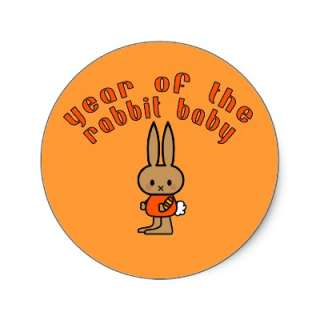 Year of the Rabbit Baby Custom Gifts Round Stickers from Zazzle