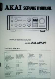 AKAI AM M939 DIGITAL INT AMP SERVICE MANUAL BOUND ENG