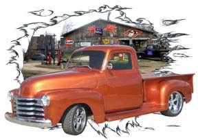 1953 Orange Chevy Pickup Truck HotRod Garage T Shirt 53