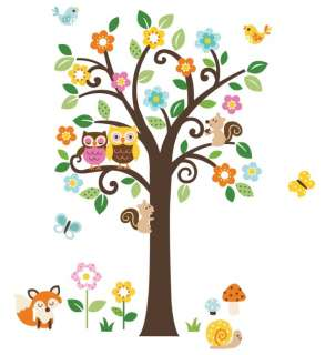 Giant Scroll Flowers Tree & Animals Wall Sticker Decals fox owls birds