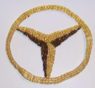 Gold Mercedes Benz Round Hood Emblem Sequin Beaded Patch Free Ship