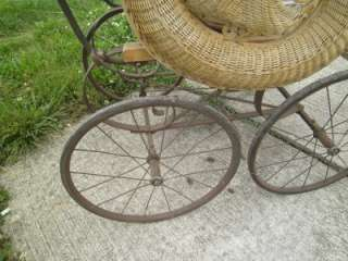 1800S ORNATE WICKER BABY DOLL STROLLER CARRIAGE BUGGY CARRIER