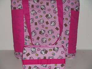 HELLO KITTY Baby Diaper Bag Tote & Wipe Case Rose Pink