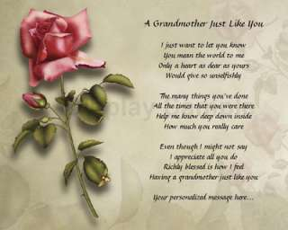 Personalized Grandmother Poem Birthday Christmas Gift