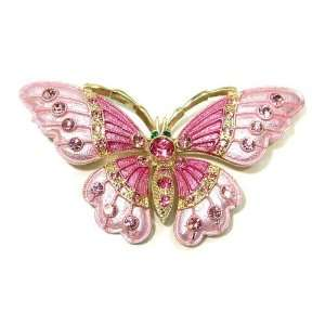 Pink Austrian Rhinestone Butterfly Gold Plated Brooch Pin Jewelry