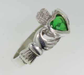 Irish Claddagh Ring w/ green stone Sterling Silver Sz 7