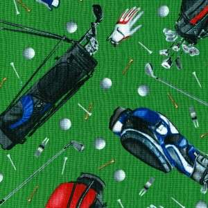 GOLF CLUBS GLOVES BALLS ON GREEN~ Cotton Quilt Fabric