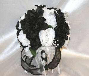 Tall black vase silk flower arrangement blue brown mans den office bridal bouquet round white black dahlia silk flowers 21 pc mightylinksfo