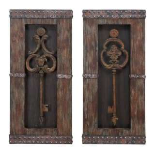 Set/2 Antique Style Large Metal Key Wall Decor w/Wooden Frames Art