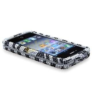 Black Zebra Bling Diamond Case +Privacy Pro+Pen For iPhone 4 s 4s 4G