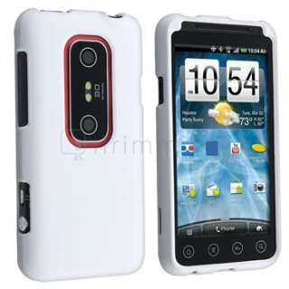 For Sprint HTC EVO 3D White Rubberized Hard Shell Case Cover Accessary